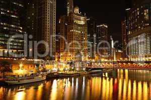 Chicago riverside at night