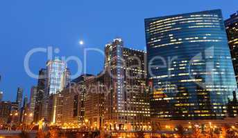 Chicago riverside at twilight