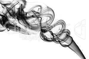 Abstract black smoke swirls on white