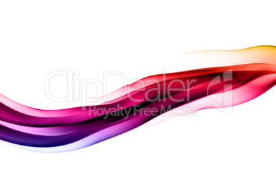Abstract colorful smoke waves on white