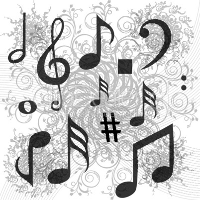 music texts on floral background