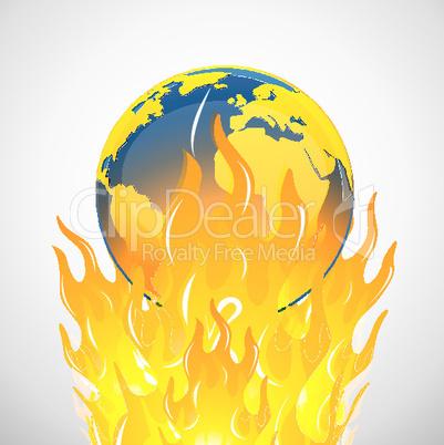 Erde auf der Flamme