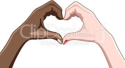 heart shape by fingers