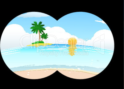 sea beach in binocular view