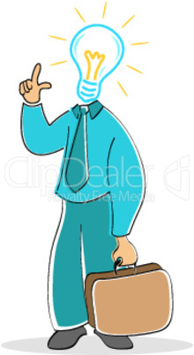 businessman with electric bulb head
