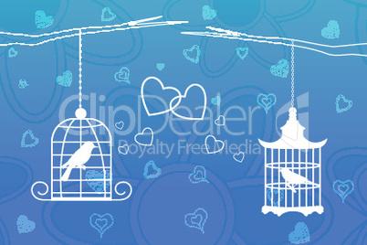 love birds in cage