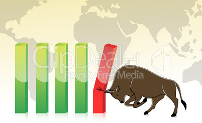 business graph with bull