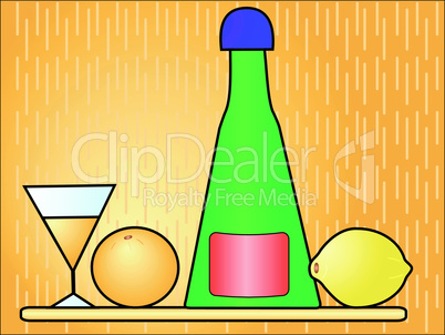 Bottle with a glass and fruit