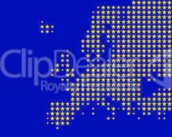 Karte und Fahne von Europa