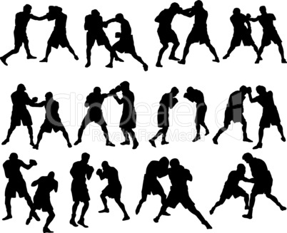 boxing silhouette set