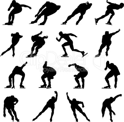 skating man silhouette set