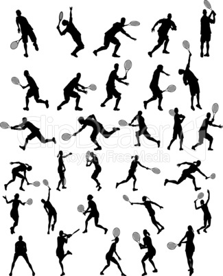 tennis silhouette set for design use