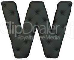 Luxury black leather font W letter