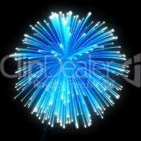 Blue festive fireworks at night