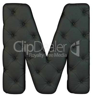Luxury black leather font M letter