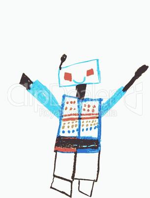 Robotermännchen, der Sprung aus dem All