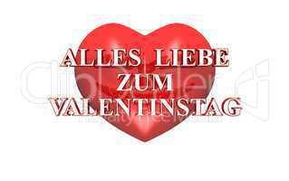 3D Herz rot - Alles Liebe zum Valentinstag
