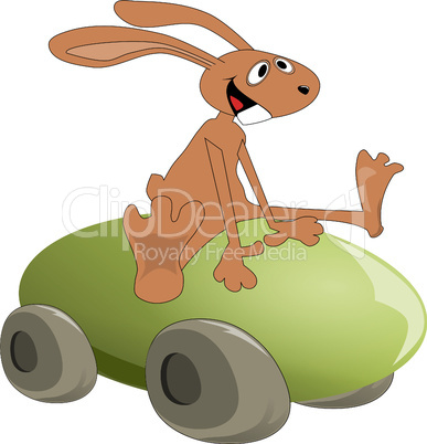 Easter bunny on egg with wheels