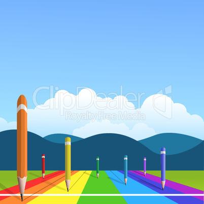 Buntstifte auf Bahnen