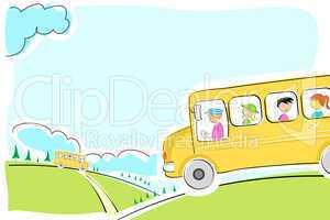 school bus on  way
