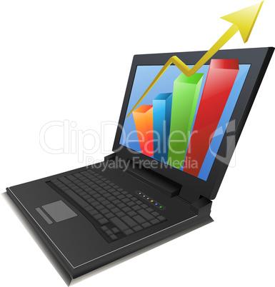 Laptop mit Diagramm