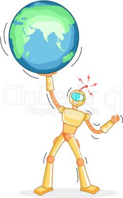 Roboter und Globus