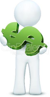 Männchen mit Dollar