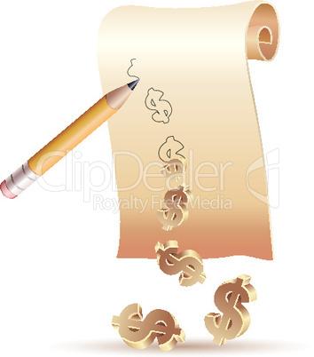 Papierrolle mit Dollarzeichen