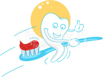 Zahn auf der Zahnbürste