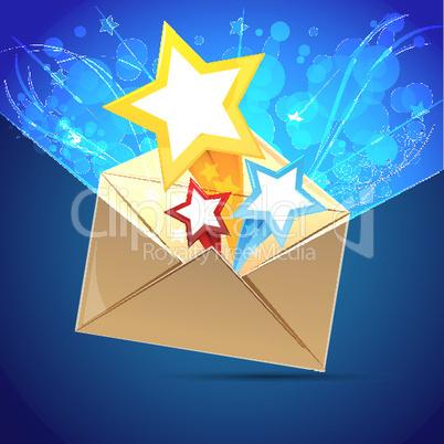 Briefumschlag und Sterne