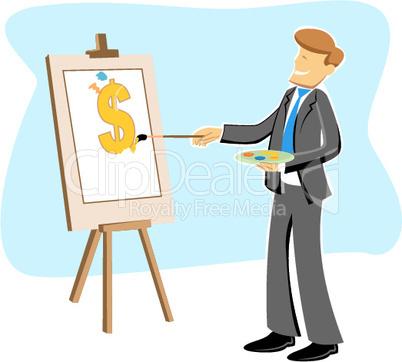Geschäftsmann beim malen