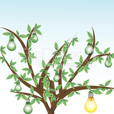 Baum mit Glühbirnen