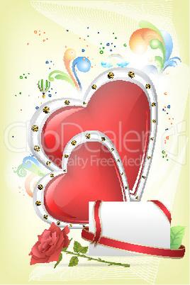 Herzen, Rose und Briefumschlag