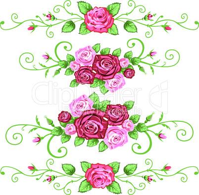 Set of roses banner