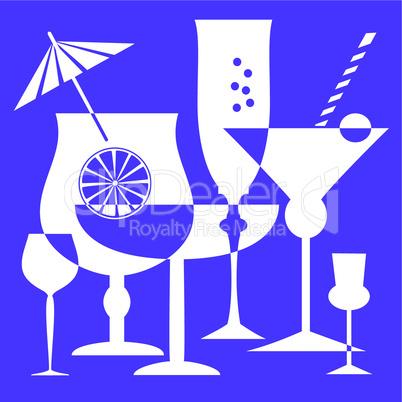 Blue drinking glasses vector illustration