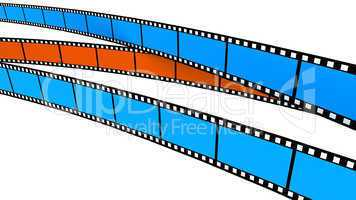 Two blue and one orange Film