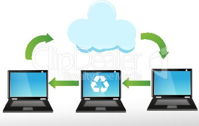 Laptops und Wolke