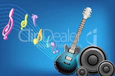 Gitarre und Lautsprecher