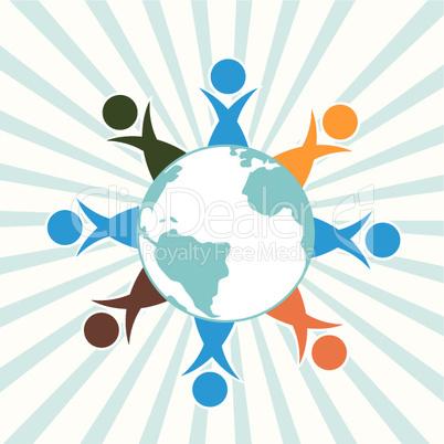 Menschen und Globus