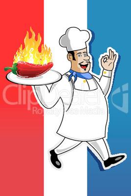 Koch mit Chili Paprika