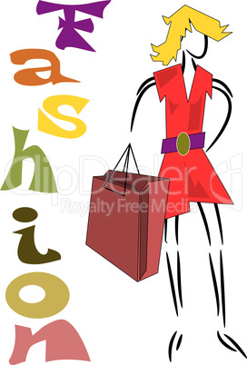 Fashion background, Woman goes shopping