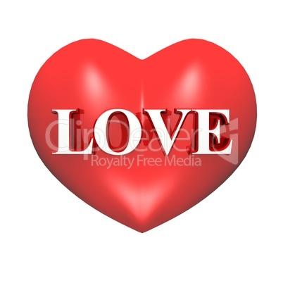 3D Herz rot - LOVE