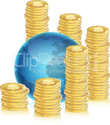 Münzen und Globus