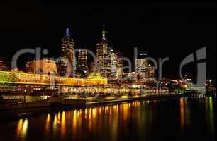 Melbourne Flinders Station at night