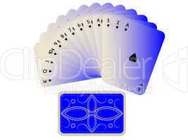 spades cards fan with deck isolated on white