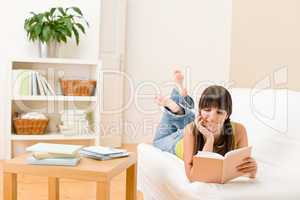 Teenager girl home - student read book