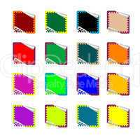 double rounded rectangle colored stickers isolated on white
