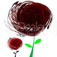 abstract black and red flowers