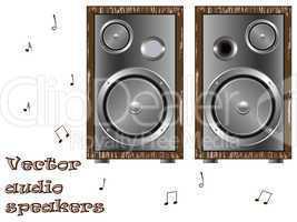 wooden speakers against white