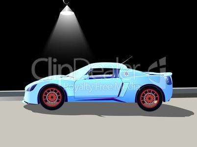 sport car and street lamp